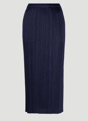 Pleats Please Issey Miyake Pleated Skirt in Blue
