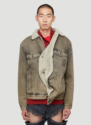 Y/Project Twisted Denim Jacket in Beige