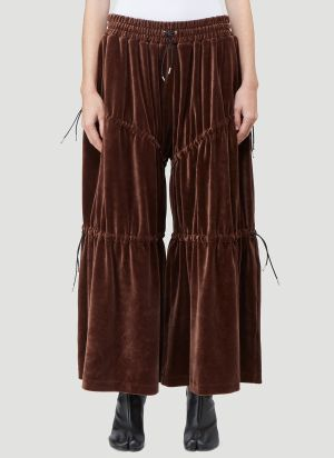 Telfar Velour Peasant Pants in Brown
