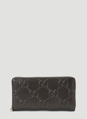 Gucci Perforated-Leather Zip-Around Wallet in Black