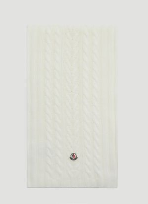 Moncler Cable-Knit Scarf in White