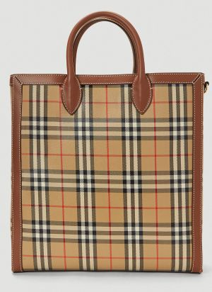 Burberry Vintage-Check Tote Bag in Beige