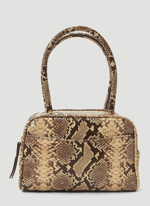 by Far Martin Snake-Print Handbag in Brown