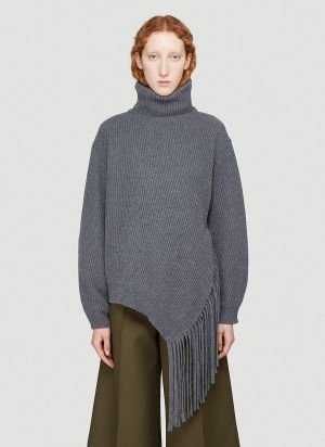 Stella McCartney Fringed-Hem Knitted Sweater in Grey