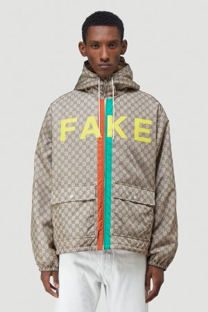 Gucci Fake Not Jacket in Beige