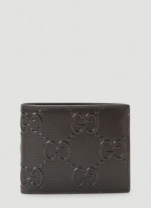 Gucci Perforated-Leather Bi-Fold Wallet in Black