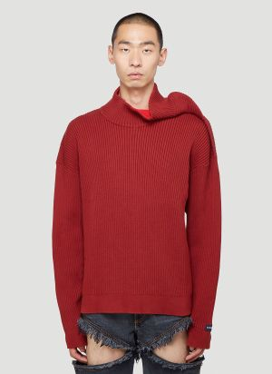 Y/Project Clipped Shoulder Sweater in Red