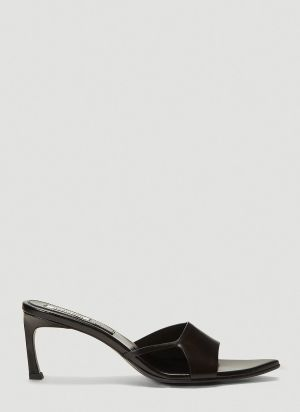 Reike Nen Cut-Out Pointed-Toe Heeled Mules in Black