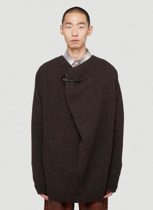 Raf Simons Safety Pin Sweater in Brown
