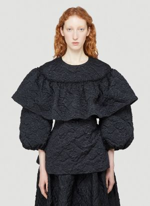 Simone Rocha Ruffled Floral-Cloqué Top in Black