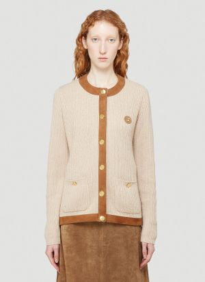 Gucci Suede-Trimmed Knitted Cardigan in Brown