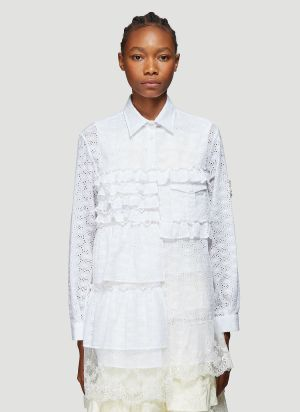 4 Moncler Simone Rocha Camicia Broderie Anglaise Shirt in White