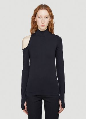 Helmut Lang Cut-Out Long-Sleeved Top in Black