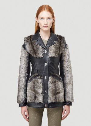 Marine Serre Faux-Fur Trimmed Leather Jacket in Black