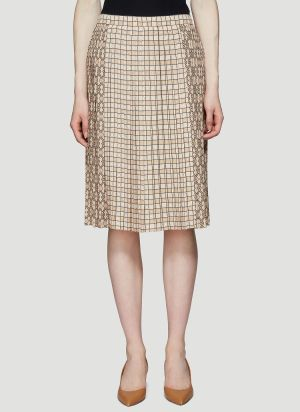 Burberry Multi Check Pleated Skirt in Beige