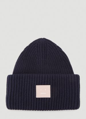 Acne Studios Face Beanie Hat in Navy