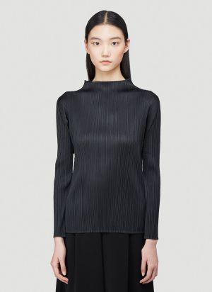 Pleats Please Issey Miyake High-Neck Pleated Top in Black