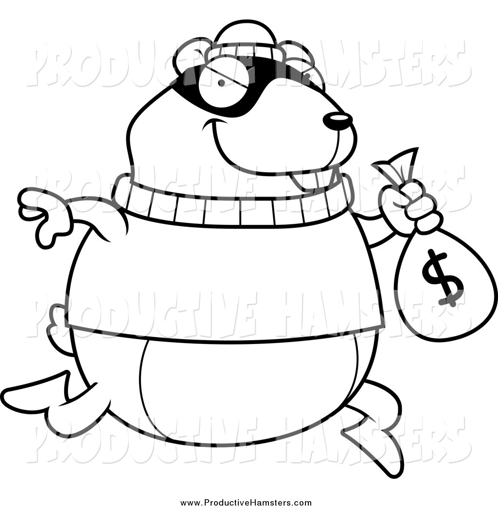 Illustration Of A Black And White Thief Hamster Robbing A