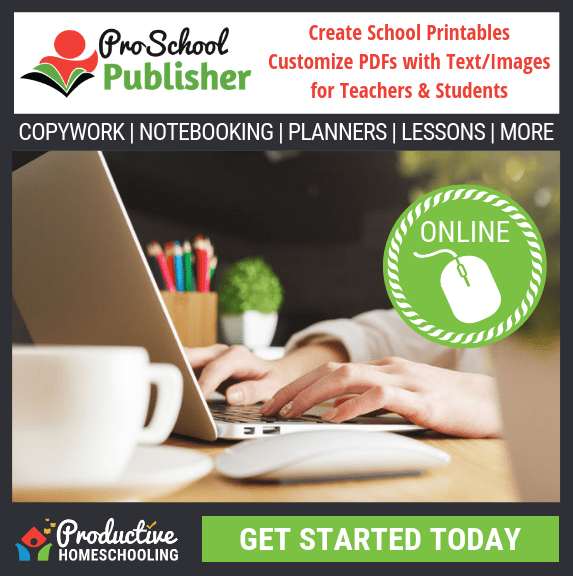 Create your own homeschool printables with the ProSchool Publisher