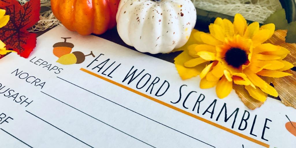Fall Word Scramble for Kids | Free Printable Worksheet