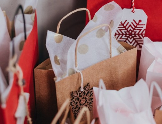 Christmas gift bags with tissue paper