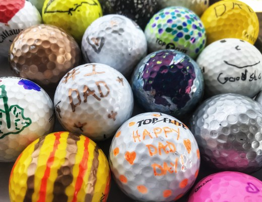 Colorful golf balls decorated for Father's Day