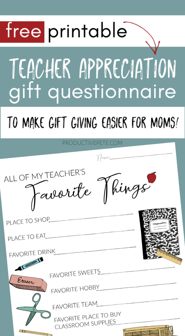 picture about Teacher Favorite Things Printable named Instructor Appreciation Present Questionnaire Printable for Again