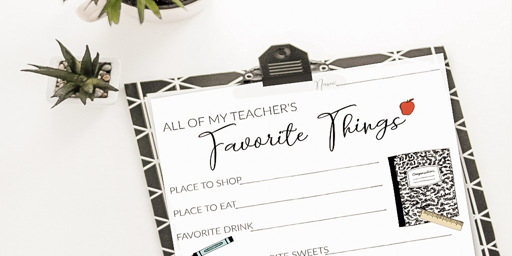 photograph regarding Teacher Favorite Things Questionnaire Printable named Instructor Appreciation Present Questionnaire Printable for Back again