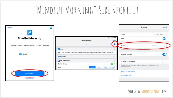Mindful Morning Routine Siri Shortcut