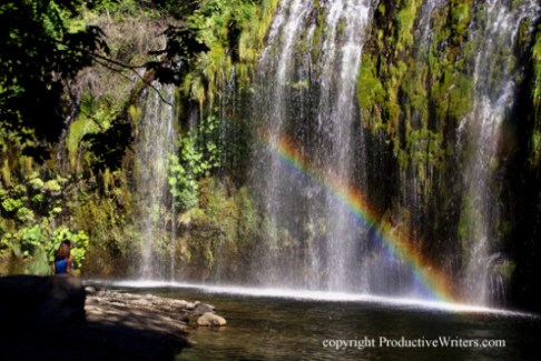 On the wall in my freelance writer home office: a photo I took of my sweetheart Stephanie at Mossbrae Falls. Inspires me to get my work done quickly!