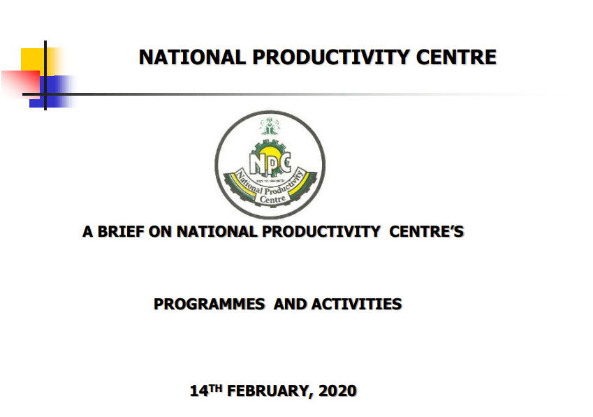 NATIONAL PRODUCTIVITY CENTRE'S PROGRAMMES AND ACTIVITIES 2020