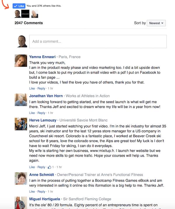 Product Launch Formula Facebook Comments