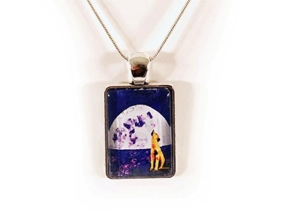 Howl Upon The Moon Glass Pendant