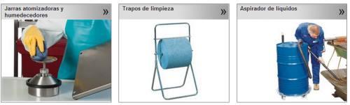 Jarras atomizadoras y humedecedoras, trapos de limpieza y aspirador de líquidos