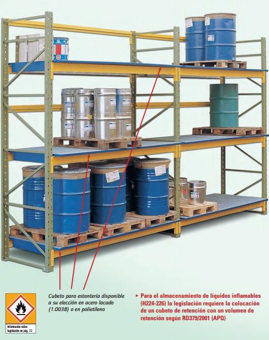 Estanterías con cubetos para el almacenamiento de líquidos inflamables