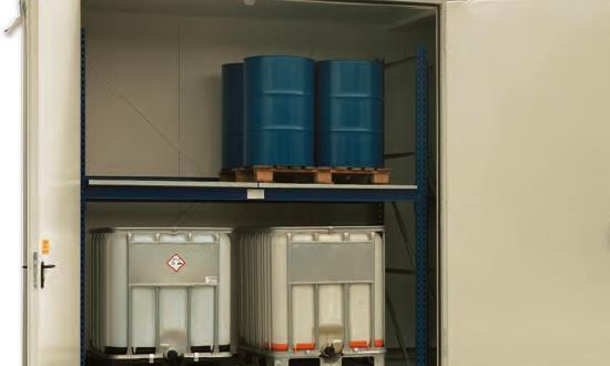 Almacén para palets y GRGs para sustancias inflamables