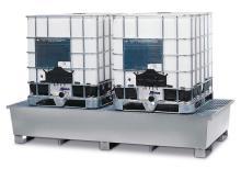 Cubeto de retención SmartSafe-2C de acero galvanizado, con rejilla, para 2 GRG