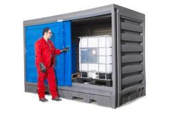 Depósito PolySafe para 2 GRG-IBC, volumen retención de 1000 l