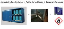 Almacén prefabrciado + Rejilla de ventilación + Kit para inflamables