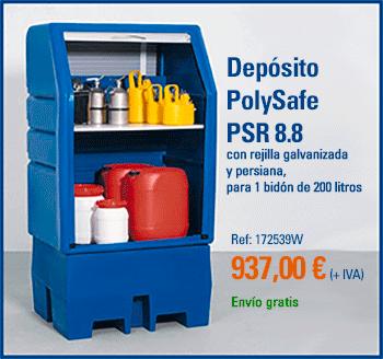 Depósito de plástico DENIOS PolySafe, para almacenar productos químicos: modelo PSR 8.8, con rejilla en PE y persiana, para 1 bidón de 200 litros