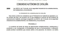 Cambio de legislación en Catalunya sobre seguridad industrial