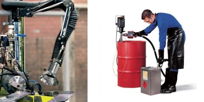 Bomba eléctrica para disolventes y brazo extractor ATEX