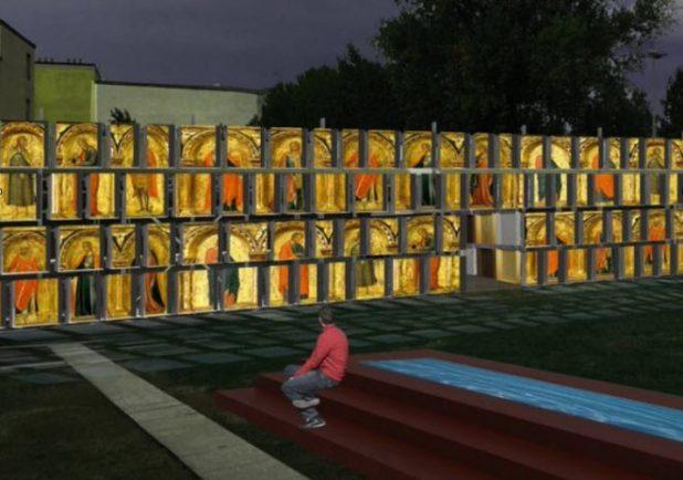 Proyección de obras de arte en la esctructra de cubetos de DENIOS