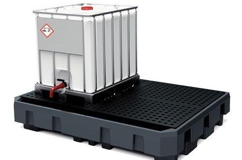 Cubeto de retención con rejilla para cubicontenedor