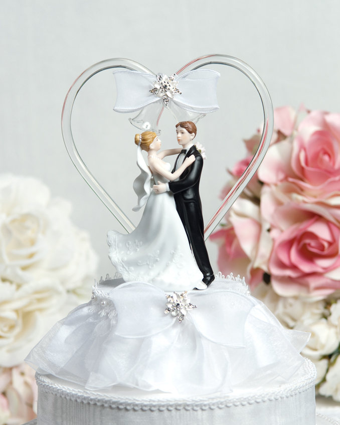 Glass Heart Wedding Cake Toppers