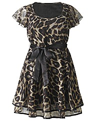 AX Paris Animal Print Frill Sleeve Dress