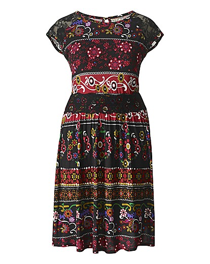 Folk print dress from Simply Be