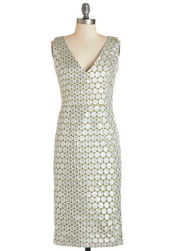 Exquisitely Effervescent Dress by Tatyana - Silver, Print, Glitter, Special Occasion, Party, Shift, Sleeveless, Woven, Better, V Neck, Cocktail, Holiday Party, Full-Size Run
