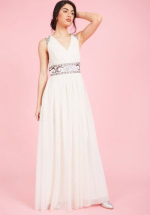 Cherished Merriment Maxi Dress in Ivory in 2X