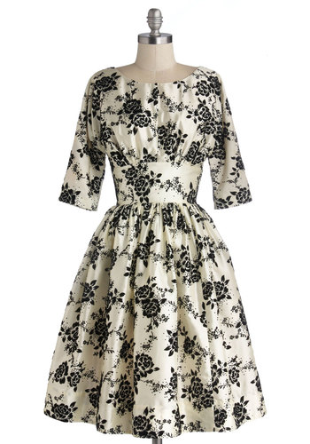 Posh at the Party Dress - Floral, Cocktail, Holiday Party, Vintage Inspired, 50s, Fit & Flare, 3/4 Sleeve, Exclusives, Cream, Black, Woven, Long, Pockets